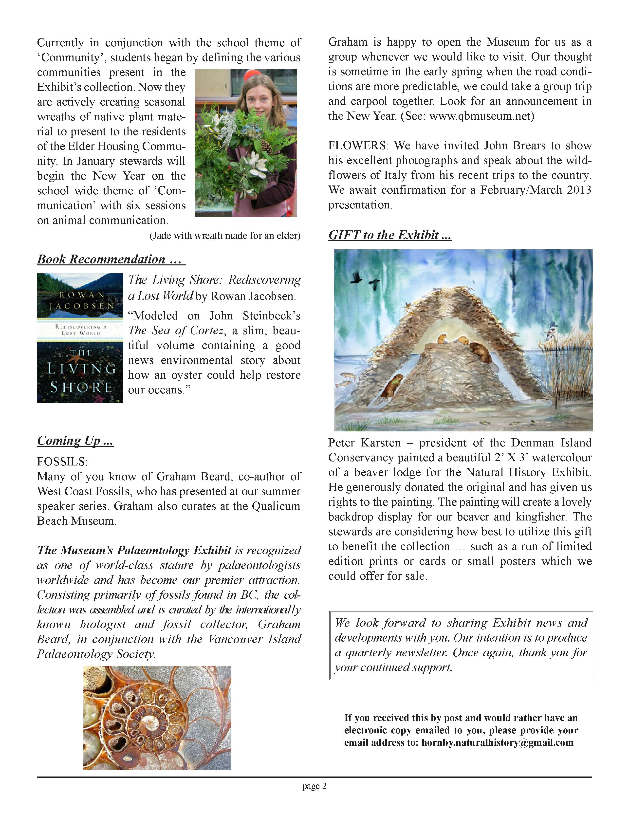 2012 News | Hornby Island Natural History Centre