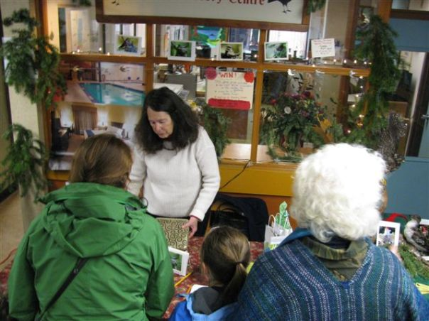 Natural History Steward Tina Wai Tablling at the Hornby Island Christmas Fair.