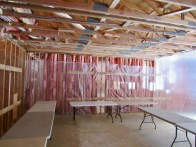 The old music room in the school was prepared for the cleaning and decontamination process.